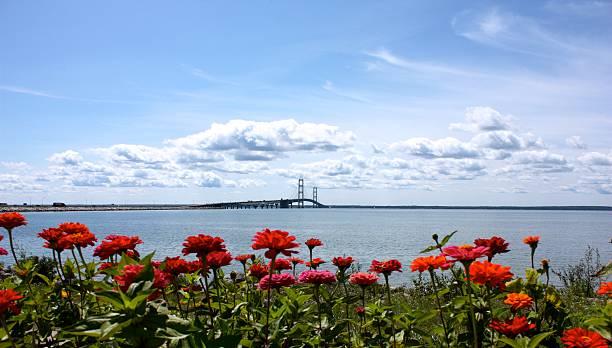 mackinac island bridge in the spring - mackinac island stock photos and pictures