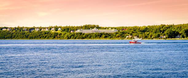 mackinac island grand hotel - mackinac island stock photos and pictures