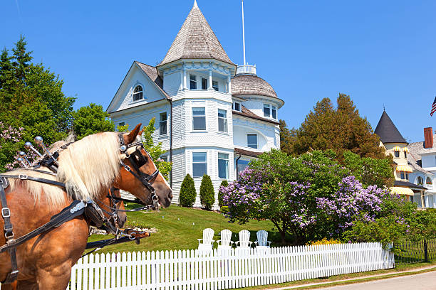 mackinac island west bluff victorian cottage - mackinac island stock photos and pictures