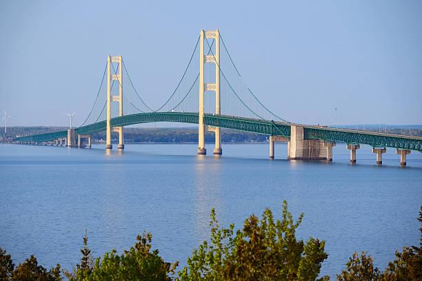 mackinac suspension bridge - mackinac island stock photos and pictures