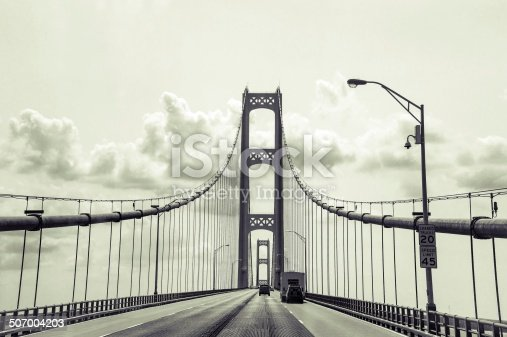 Retro style view of crossing the Mackinaw Bridge.