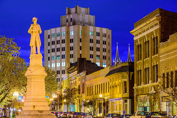 Macon Georgia Cityscape Macon, Georgia, USA at the War Memorial to Confederate Soldiers. civil war memorial minnesota stock pictures, royalty-free photos & images