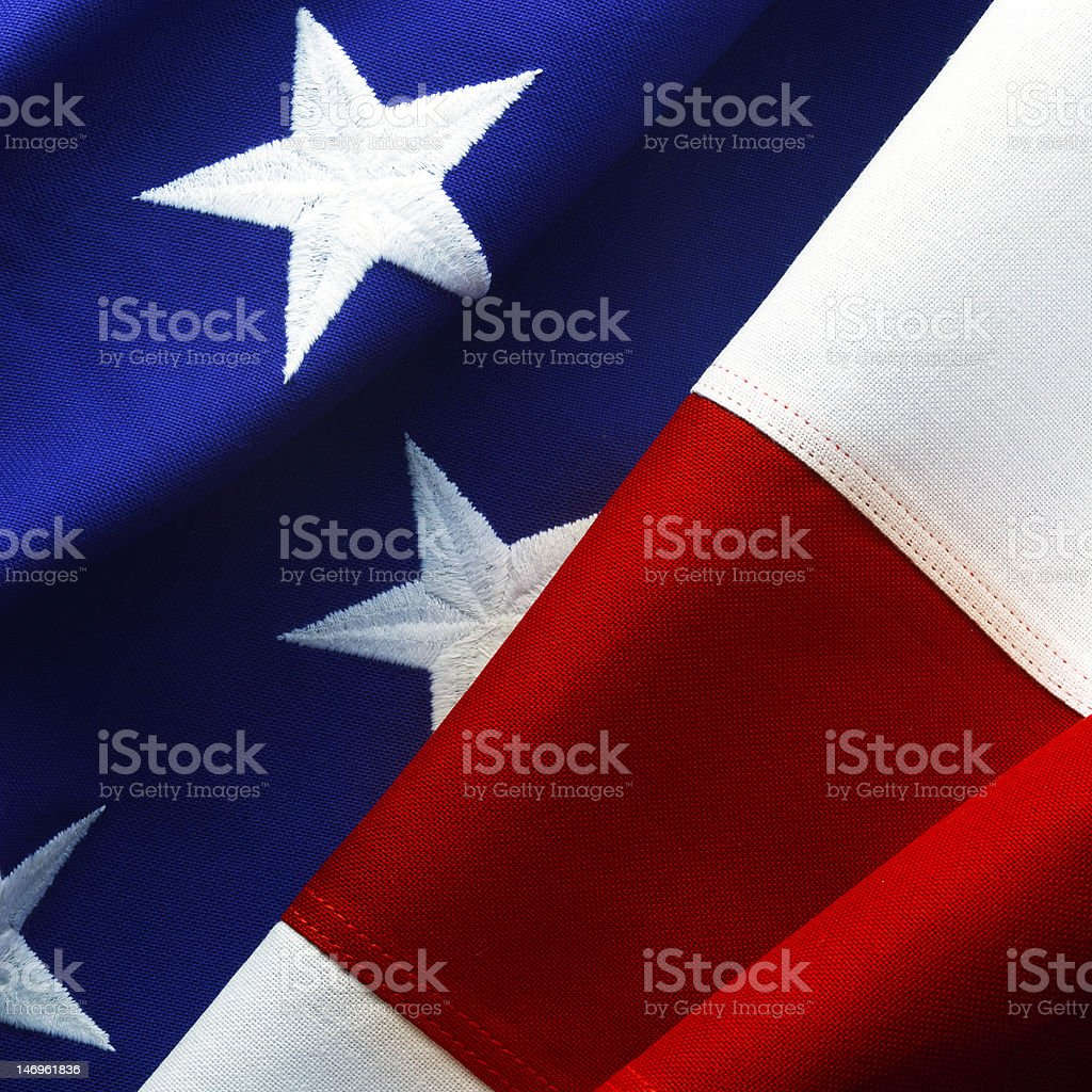 Macro American flag stock photo