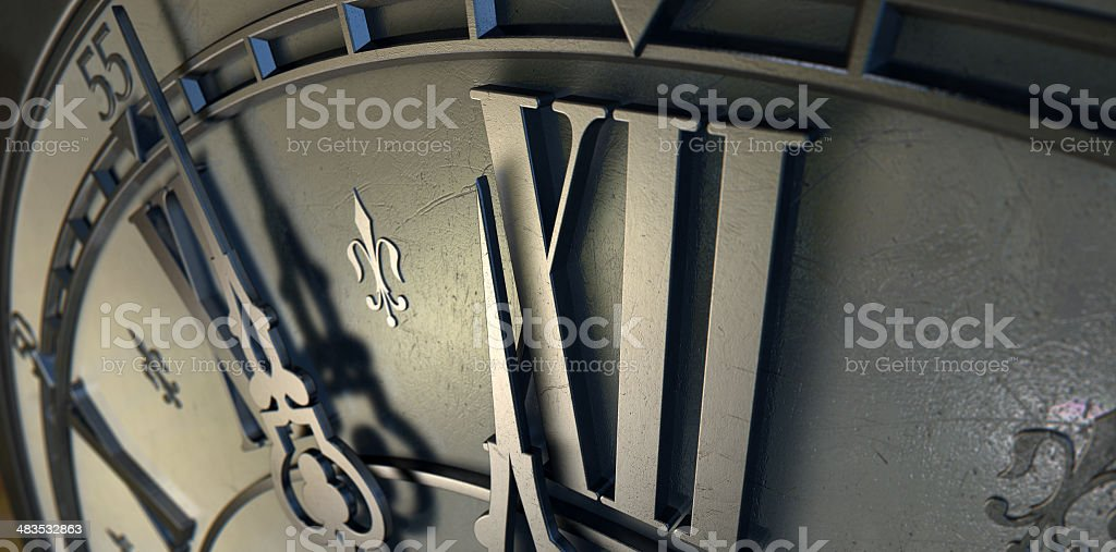 Macro Antique Clock Midnight royalty-free stock photo