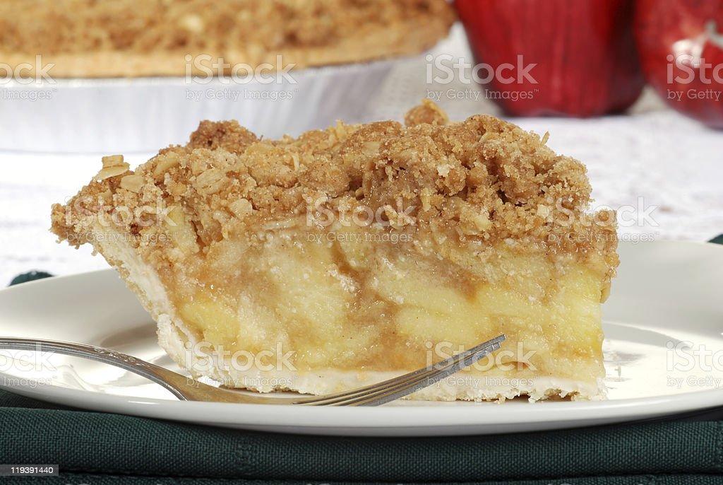 macro apple crumble pie stock photo
