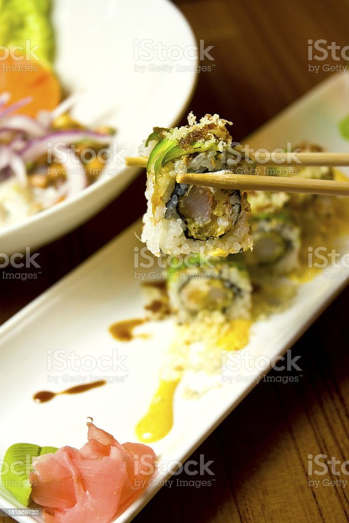 Macro Asian Sushi Meal With Chopsticks royalty-free stock photo