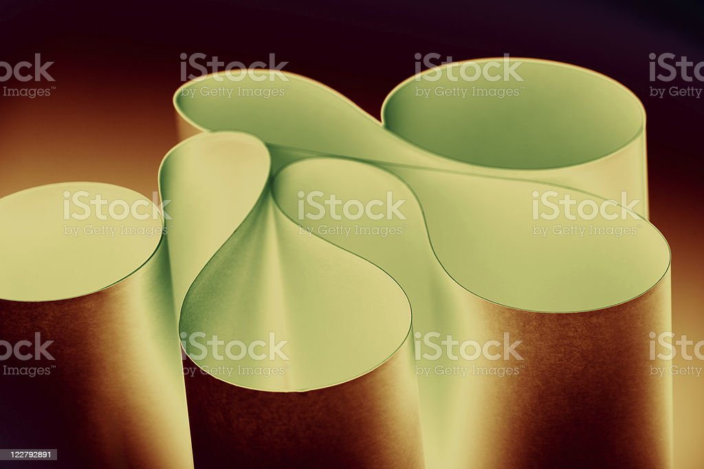 macro background picture curved twisted sheets of paper, metalli royalty-free stock photo