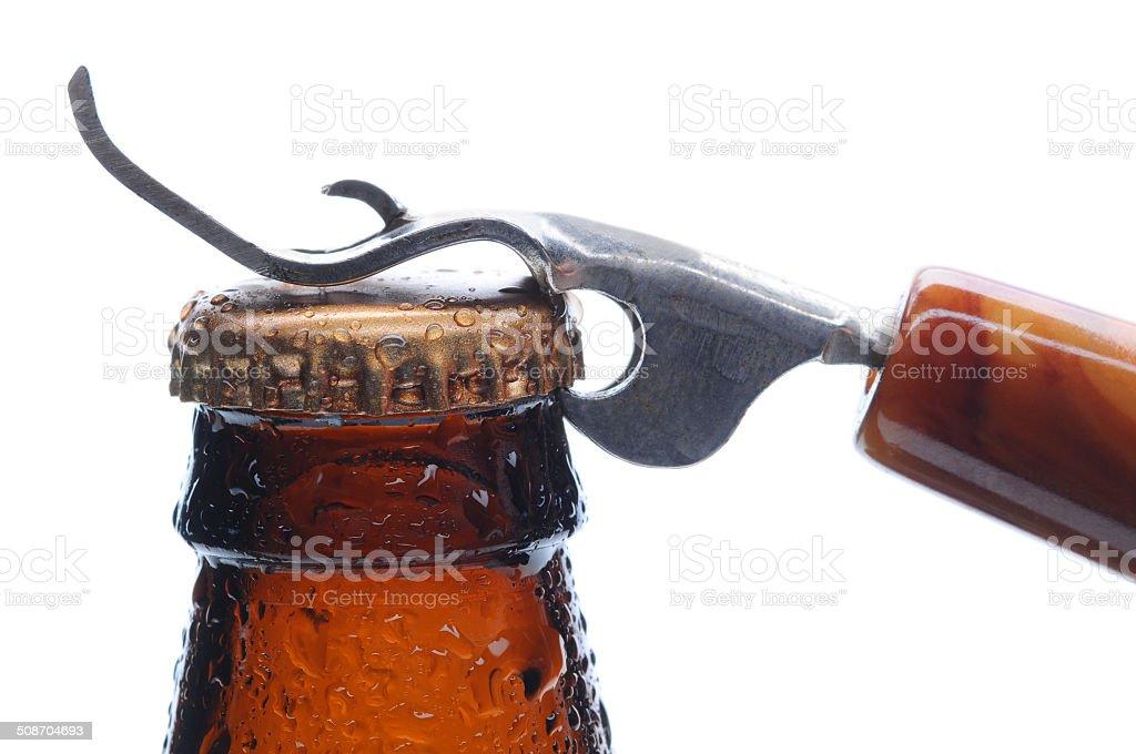 Macro Beer Bottle and Opener stock photo