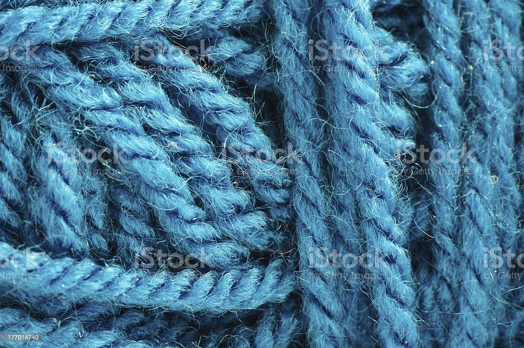 Macro Blue Wool Texture royalty-free stock photo