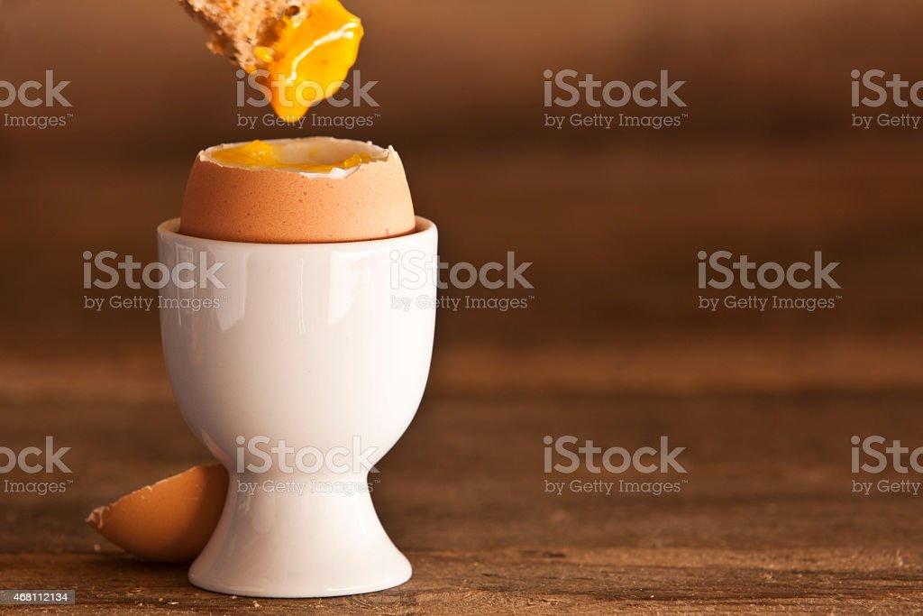 Macro Boiled Egg With Toast stock photo