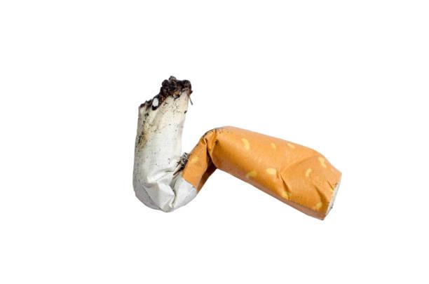 Macro Cigarette butt stock photo