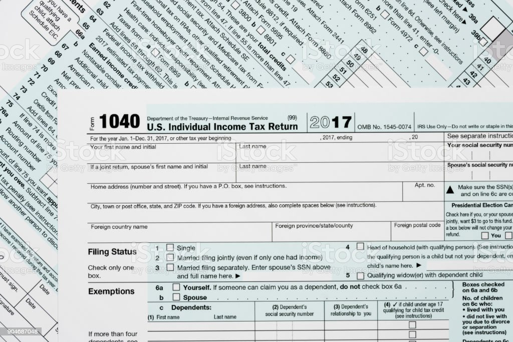 Macro Close Up Of 2017 Irs Form 1040 Stock Photo - Download Image