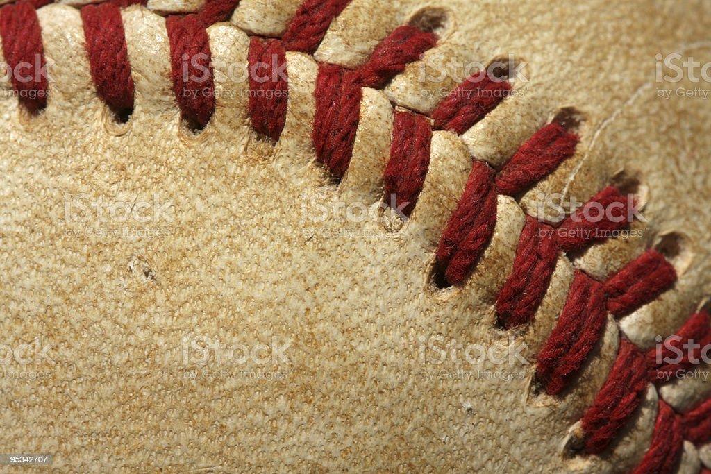 Macro Close up of Baseball Threads stock photo