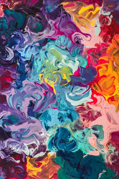 macro close up of different color oil paint. colorful acrylic - lila palette stock-fotos und bilder