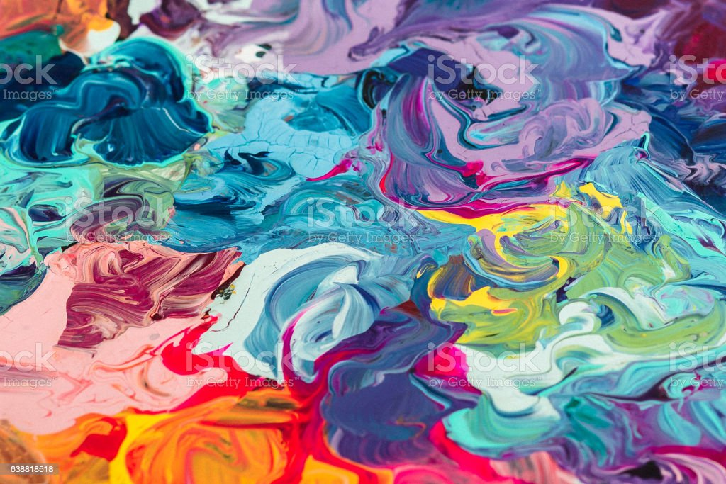 macro close up of different color oil paint. colorful acrylic圖像檔