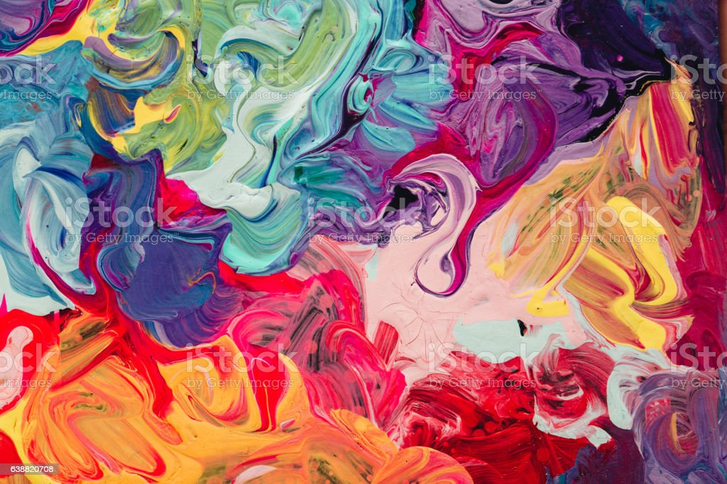 macro close up of different color oil paint. colorful acrylic vector art illustration