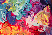 macro close up of different color oil paint. colorful acrylic