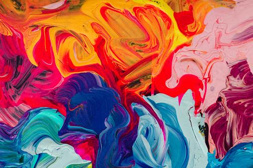 Photo libre de droit de Macro Close Up Of Different Color Oil Paint Colorful Acrylic banque d'images et plus d'images libres de droit de Abstrait
