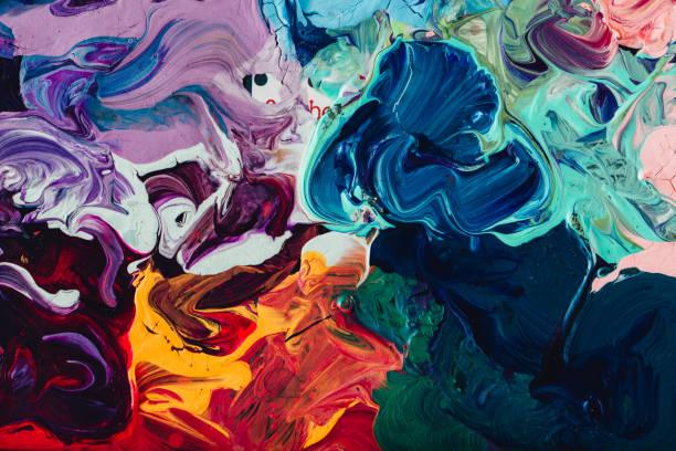 macro close up of different color oil paint. colorful acrylic - foto de acervo
