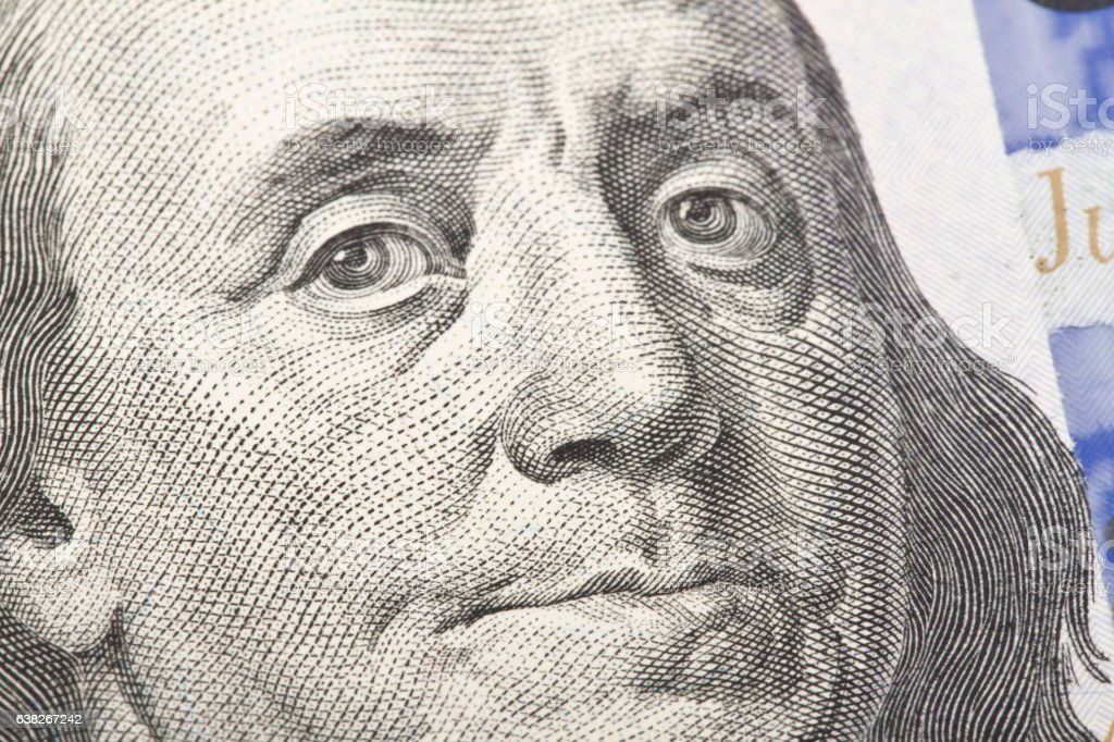 Macro close up of the US dollar bill. stock photo