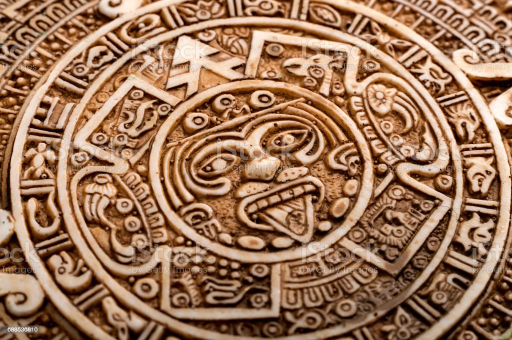 Macro close up on Mayan calendar stock photo