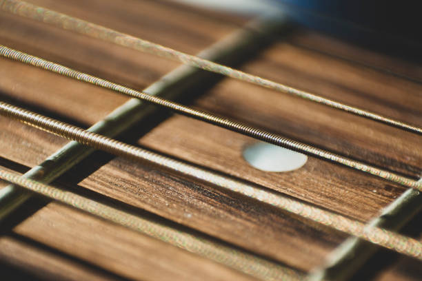 Macro close up shot of acoustic guitar strings on sun shine. Music and guitar playing concept stock photo