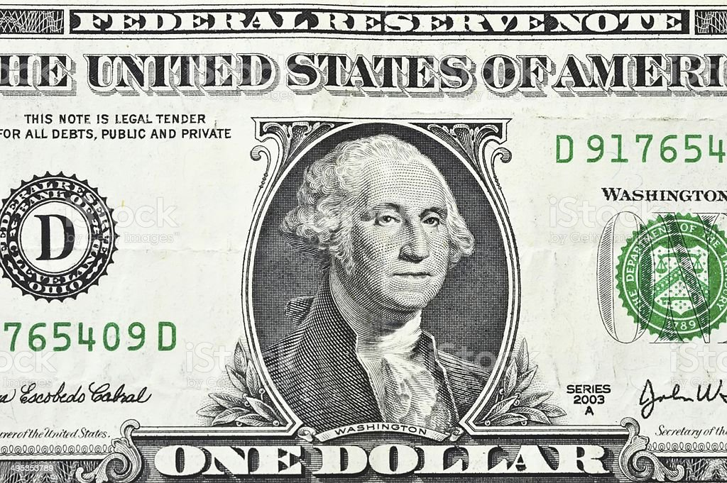 macro close up shot with one dollar bill 1$ stock photo