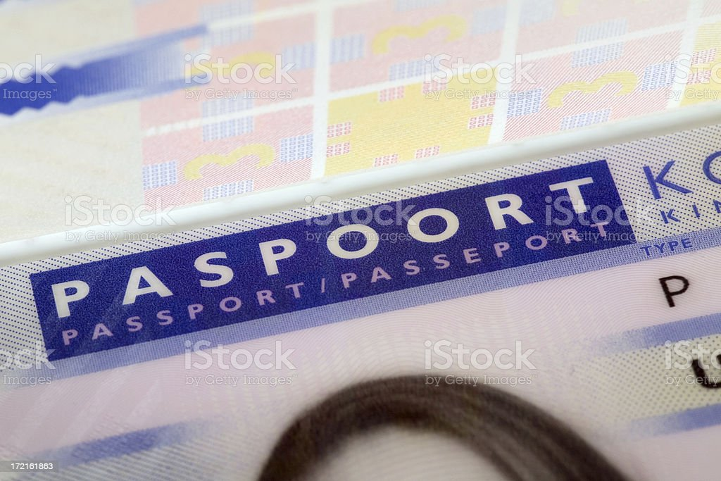 Macro close-up of a Dutch passport, fragment royalty-free stock photo