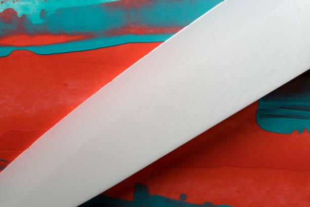 makro, close-up eines messers - kochkunst stock-fotos und bilder