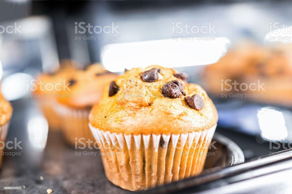 Closeup macro de um muffin de chocolate baunilha no forro de papel, doces de sobremesa pastelaria para pequeno-almoço continental, na exibição de bandeja no café, armazenam - foto de acervo