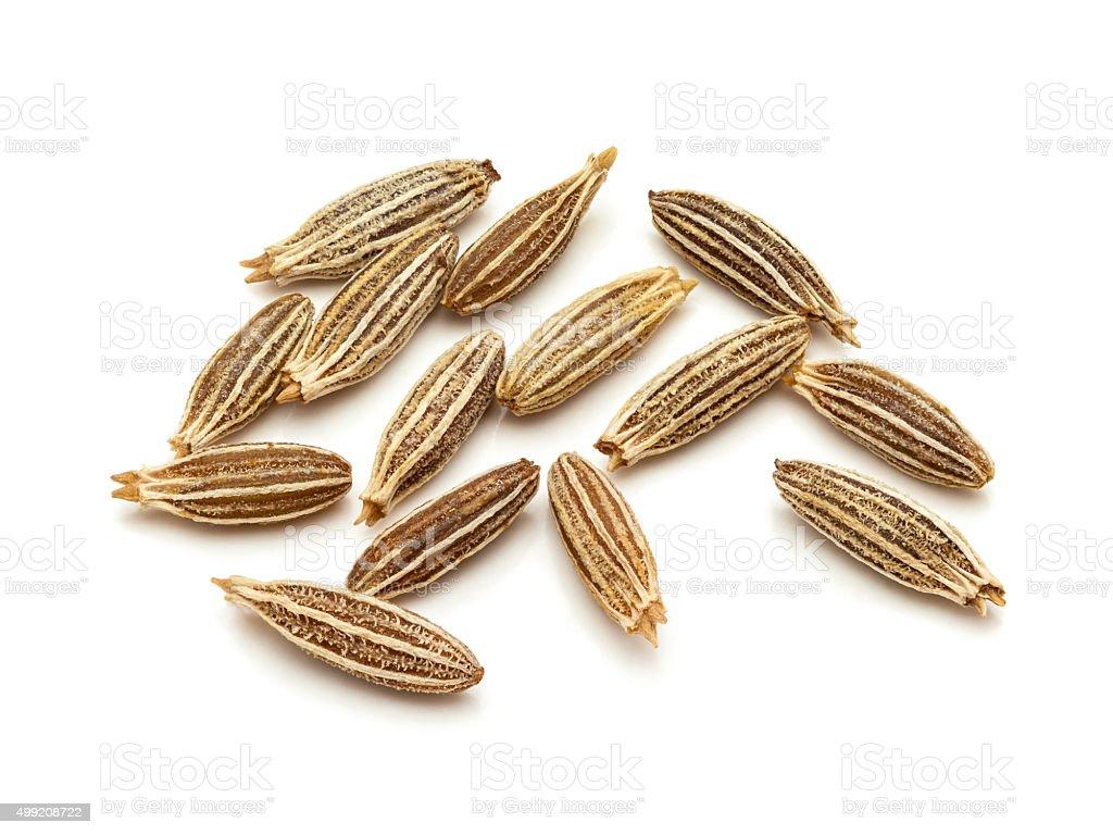 Macro closeup of Organic Cumin seeds. stock photo