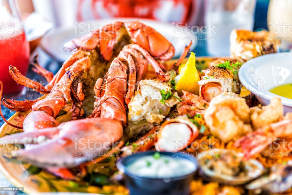 Macro closeup of red lobsters, shrimp, crab, oyster and seafood platter on plate in restaurant with tartar sauce stock photo