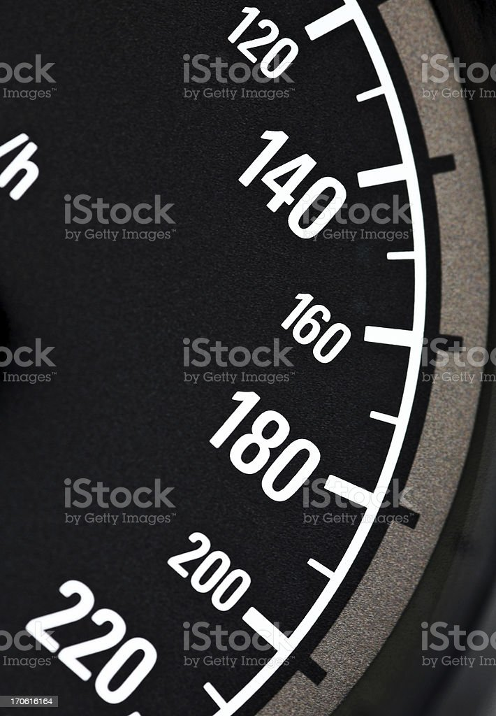 Macro close-up of speedometer, range from 120 to 220 km/h stock photo