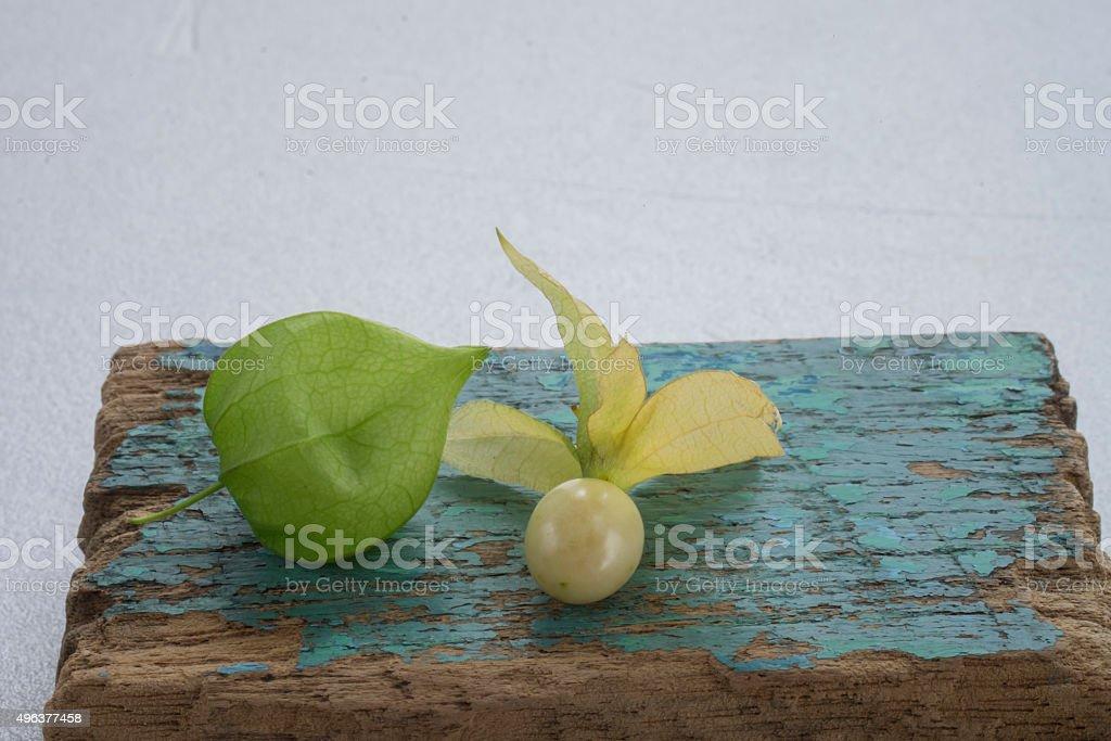 Macro detail image of Cape gooseberry on white background stock photo
