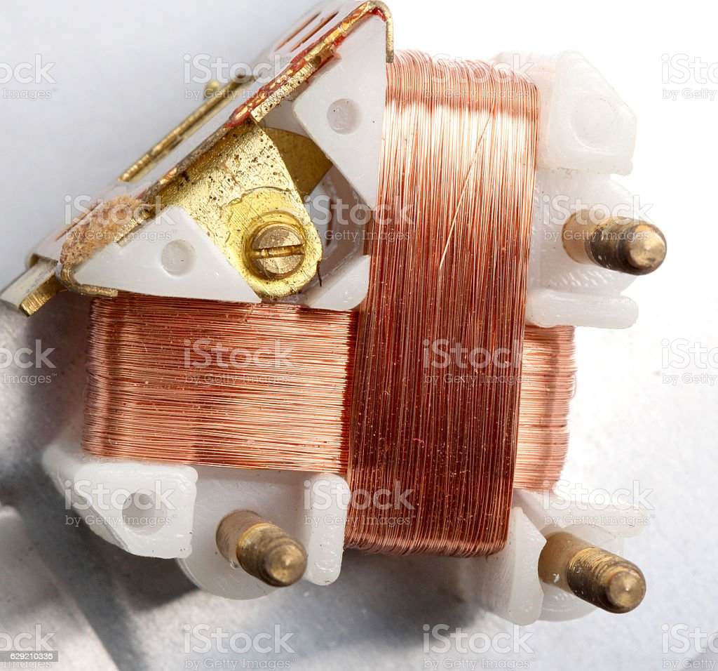 Macro , detail of a copper inductor in a transformer. stock photo
