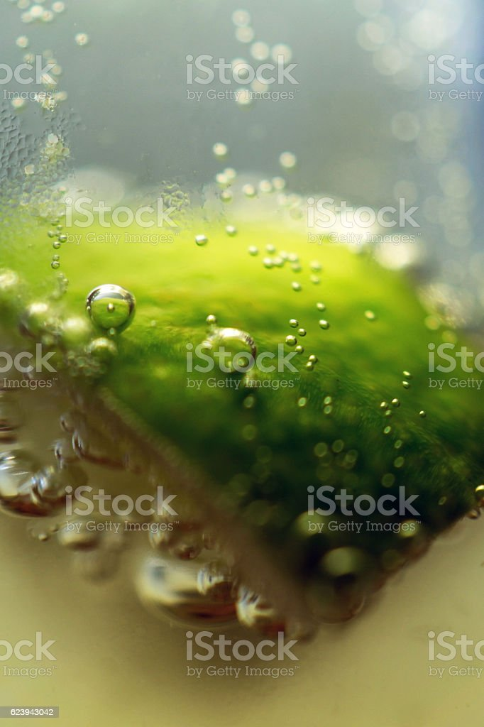 macro detail of bubbles coming off lime in beer stock photo