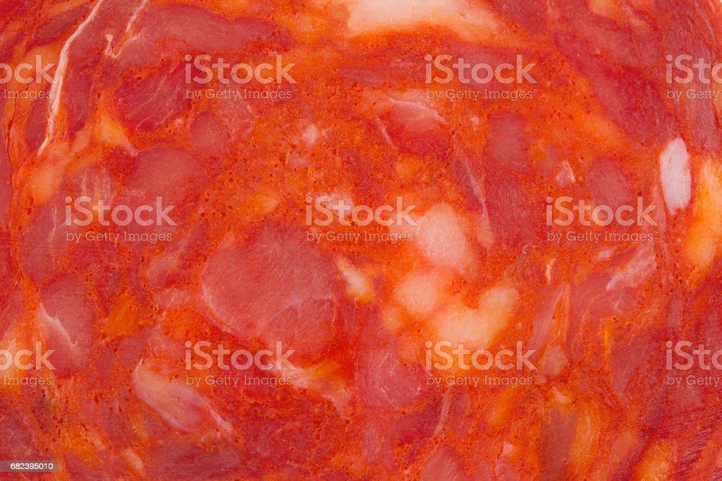 macro detail of chorizo salami sausage slice royalty-free stock photo