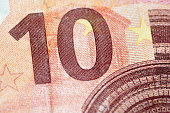 istock Macro detail of euro currency money banknote: 10 euro 612864048