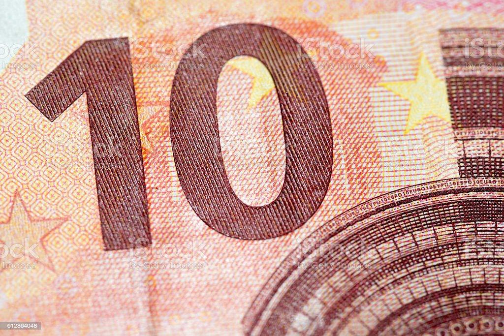 Macro detail of euro currency money banknote: 10 euro – Foto