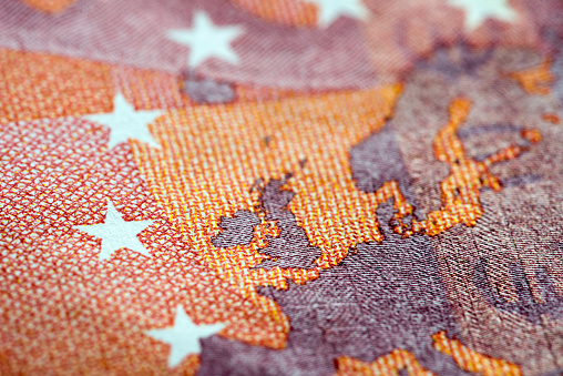 istock Macro detail of euro currency money banknote: 10 euro 613013404