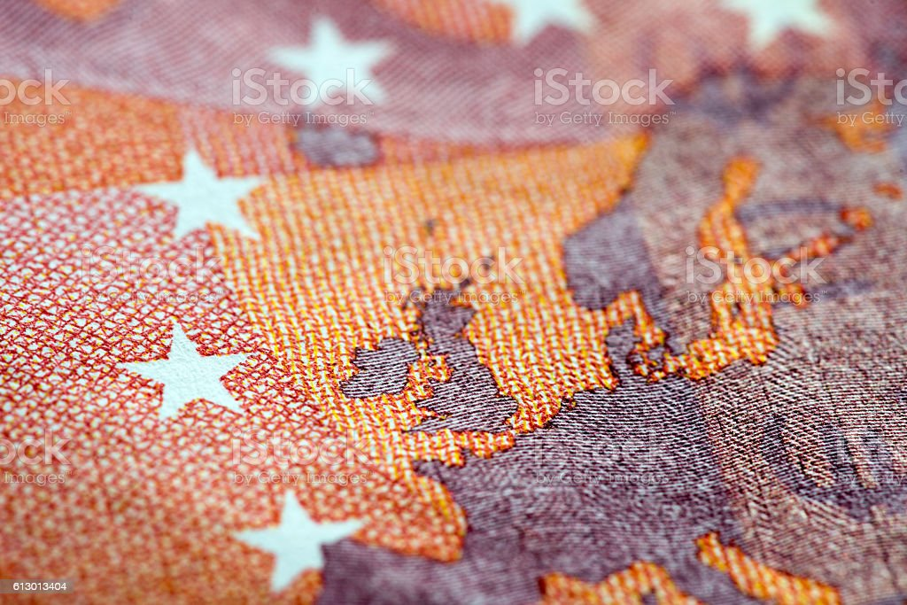Macro detail of euro currency money banknote: 10 euro stock photo