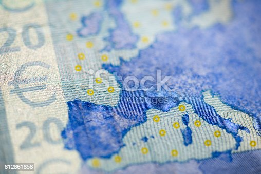 Macro detail of euro currency money banknote: 20 euro