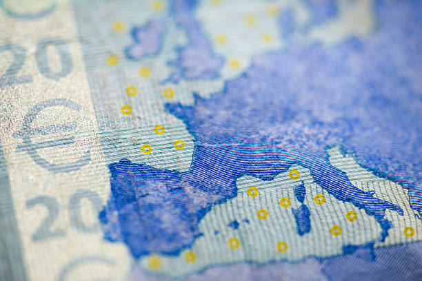 macro detail of euro currency money banknote: 20 euro - cartina italia foto e immagini stock