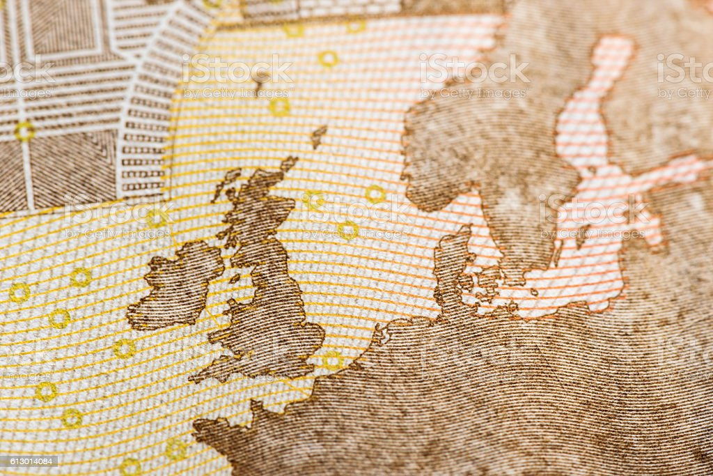 Macro detail of euro currency money banknote: 50 euro stock photo