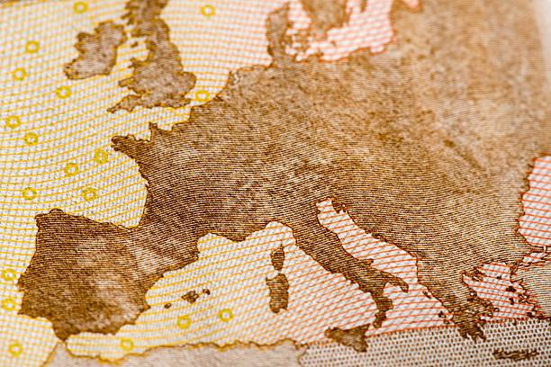 macro detail of euro currency money banknote: 50 euro - ec karte stock-fotos und bilder