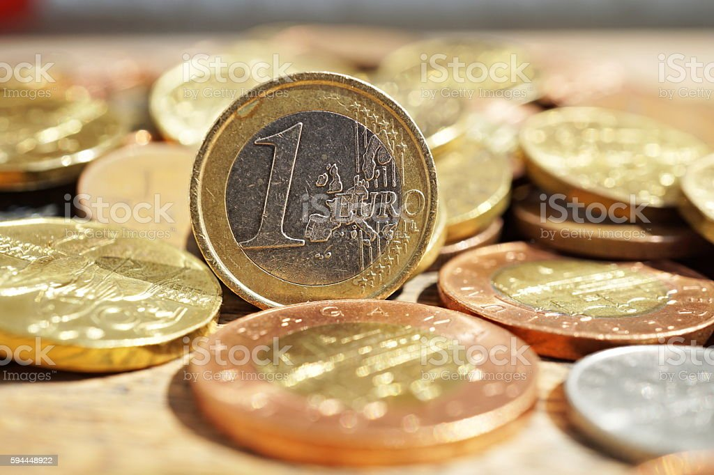 Macro detail of silver and golden Euro coin stock photo