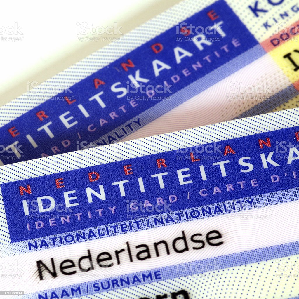 Macro detail of two Dutch ID cards royalty-free stock photo
