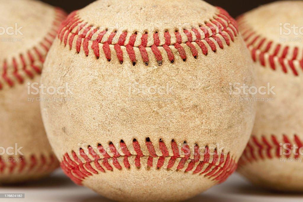 Macro Detail of Worn Baseball stock photo