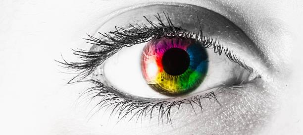 Macro eye multi colored rainbow stock photo