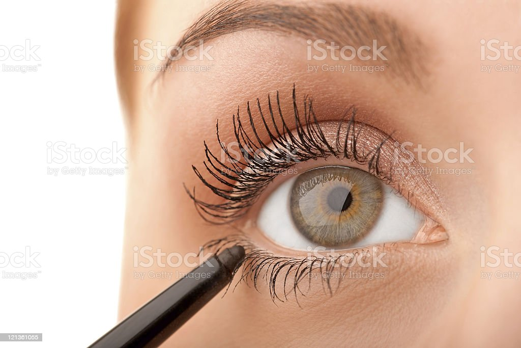Macro green eye royalty-free stock photo
